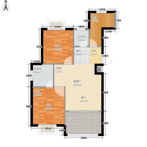 半岛名墅洋房2室1厅2卫1厨91.00㎡户型图