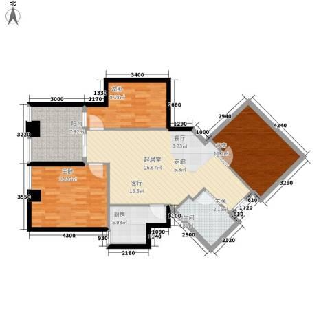 汇金国际公寓3室0厅1卫1厨113.00㎡户型图