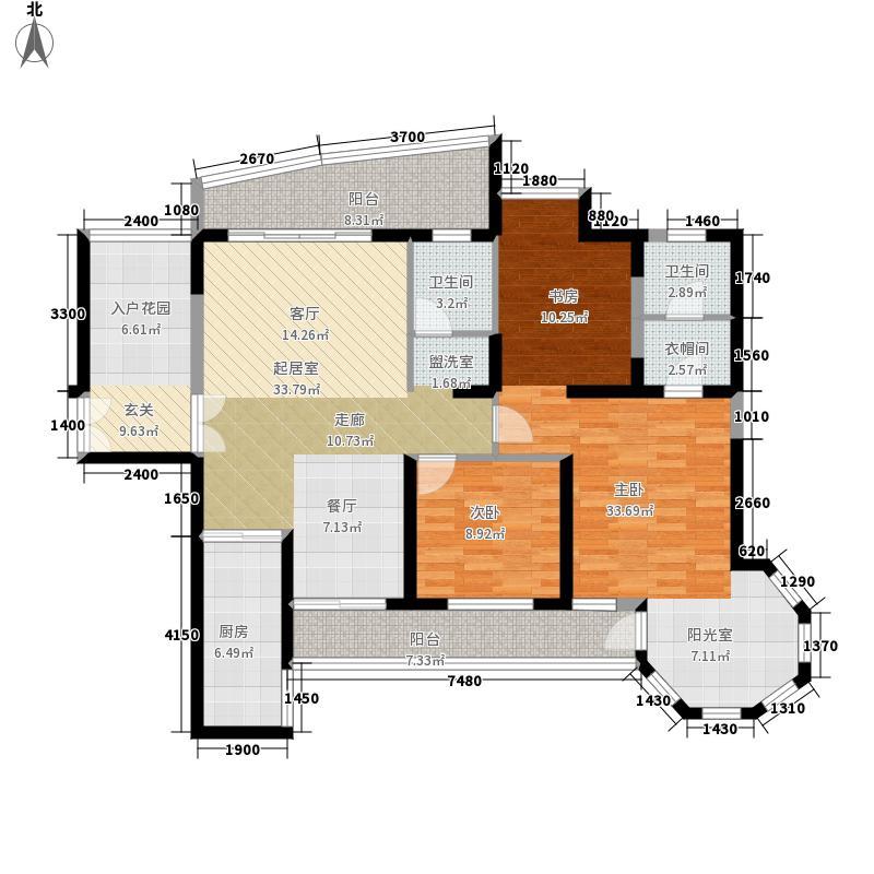 盛世一品144.82㎡4#楼B2标准层户面积14482m户型