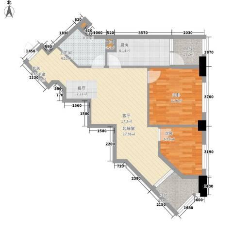 汇金国际公寓2室0厅1卫1厨97.00㎡户型图