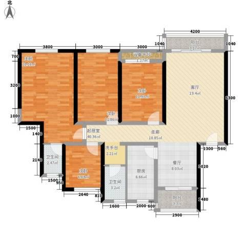 安康丰景佳园二期4室0厅2卫1厨143.00㎡户型图
