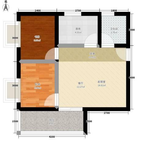 盛世一品1室0厅1卫1厨58.00㎡户型图