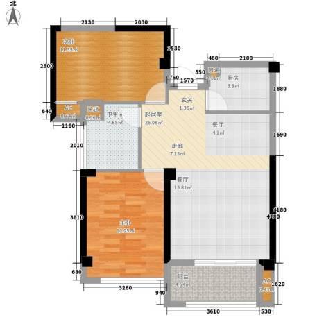 龙旺名城2室0厅1卫1厨92.00㎡户型图