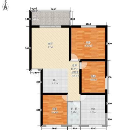 安康丰景佳园二期3室0厅1卫1厨112.00㎡户型图