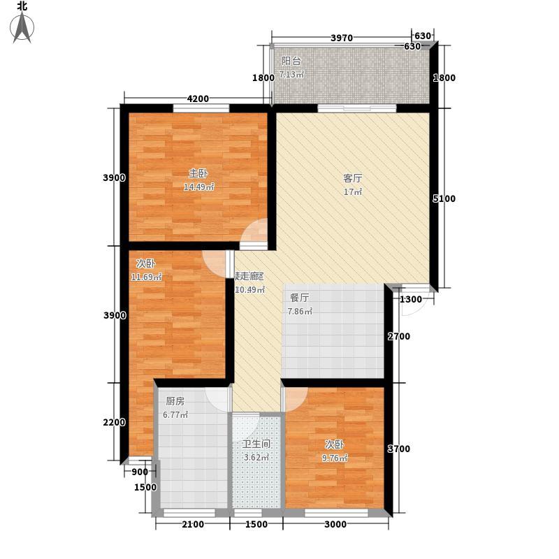 安康丰景佳园二期109.13㎡三室两厅一卫户型