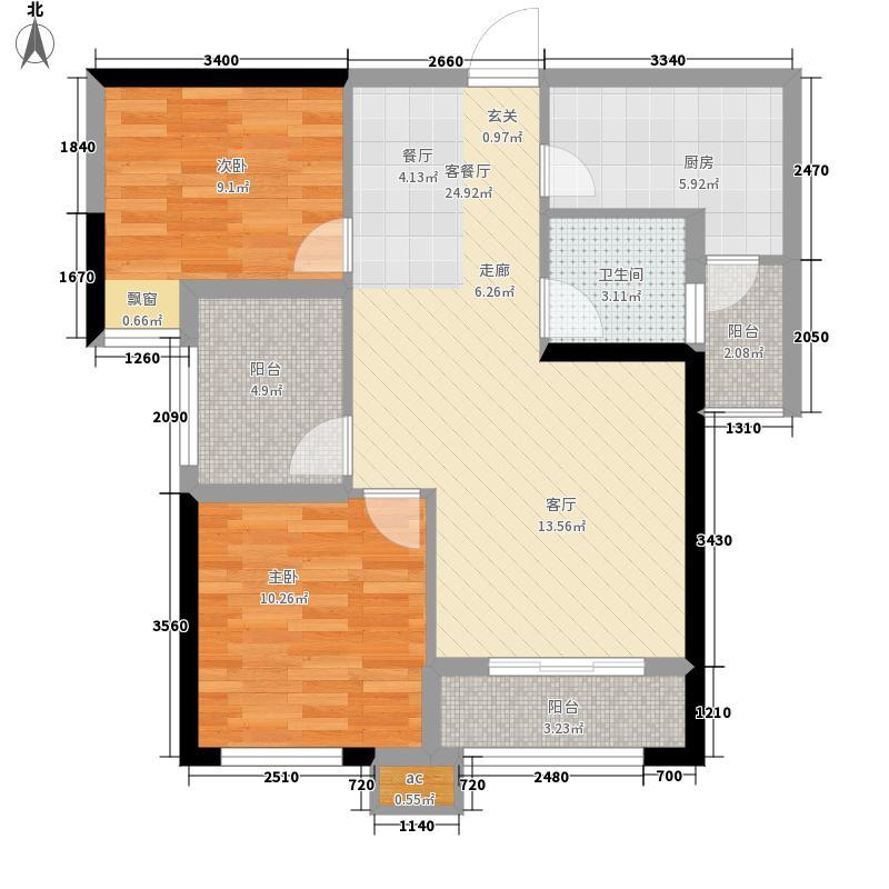 武汉东合官湖郡84.00㎡10、12、14#楼B户型2室2厅