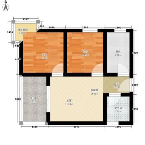 盛世一品2室0厅1卫1厨58.00㎡户型图