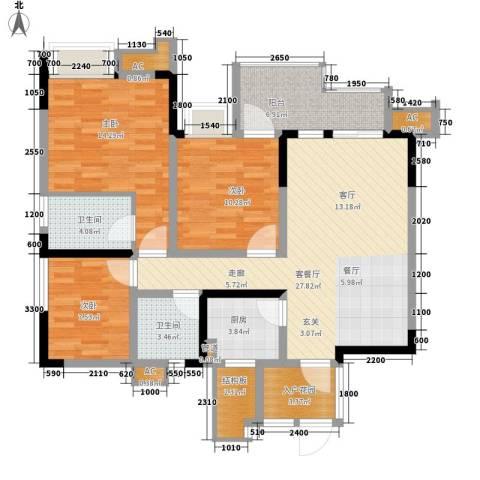 希望城3室1厅2卫1厨106.00㎡户型图