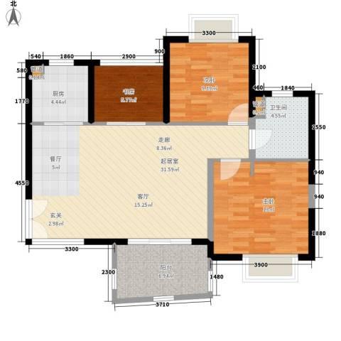 华融琴海湾3室0厅1卫1厨96.00㎡户型图