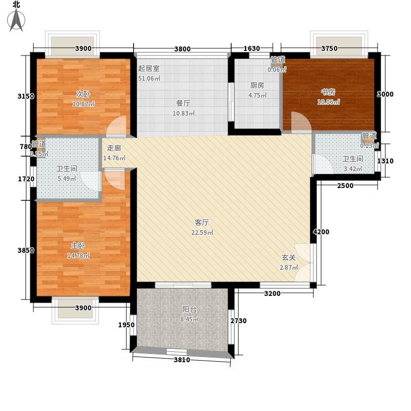 华融琴海湾137.00㎡户型3室2厅