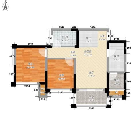天香2室0厅1卫1厨66.00㎡户型图