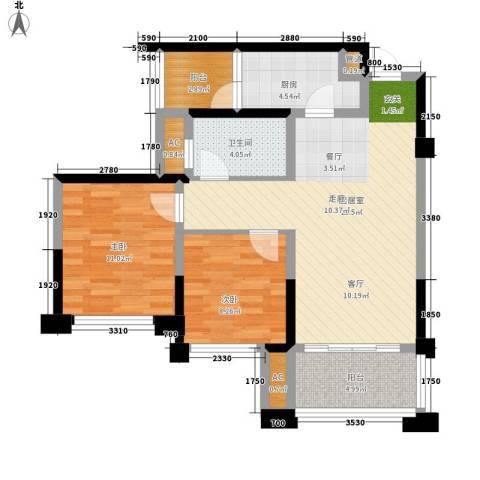 天香2室0厅1卫1厨72.00㎡户型图