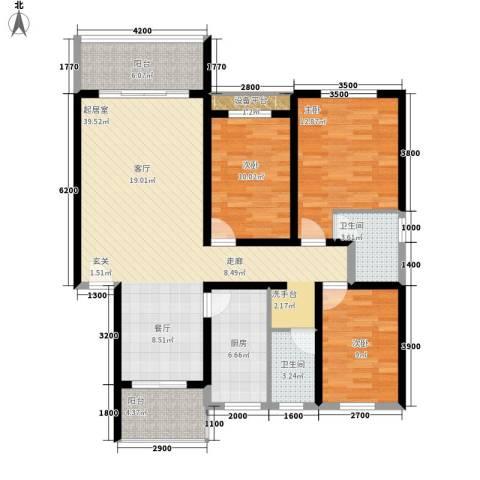 安康丰景佳园二期3室0厅2卫1厨122.00㎡户型图