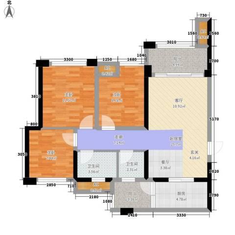 天香3室0厅2卫1厨85.00㎡户型图