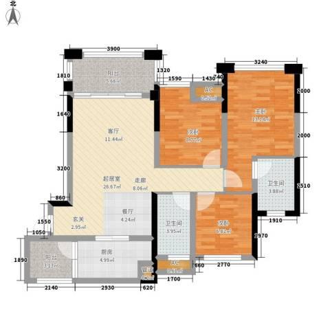 天香3室0厅2卫1厨97.00㎡户型图