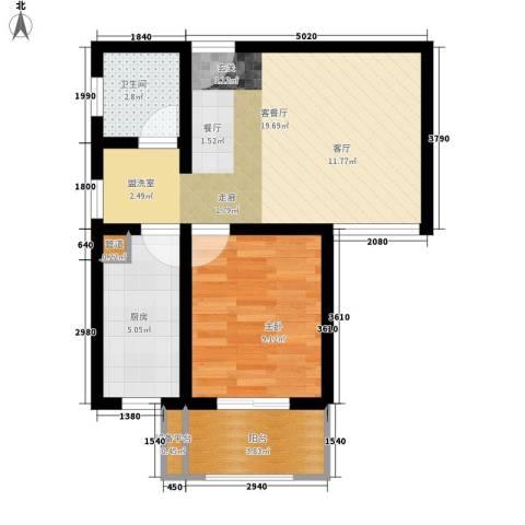 钢都花园124街坊1室1厅1卫1厨48.46㎡户型图