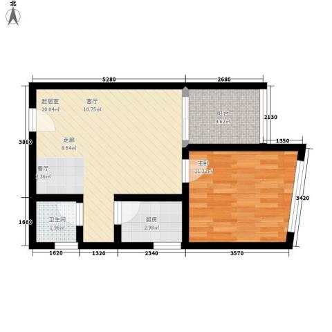 海宇依云香榭1室0厅1卫1厨48.00㎡户型图