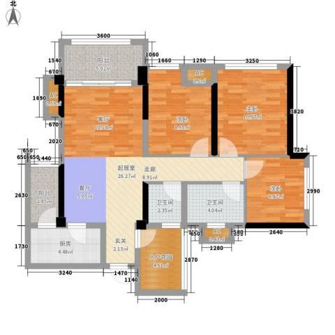 天香3室0厅2卫1厨86.00㎡户型图