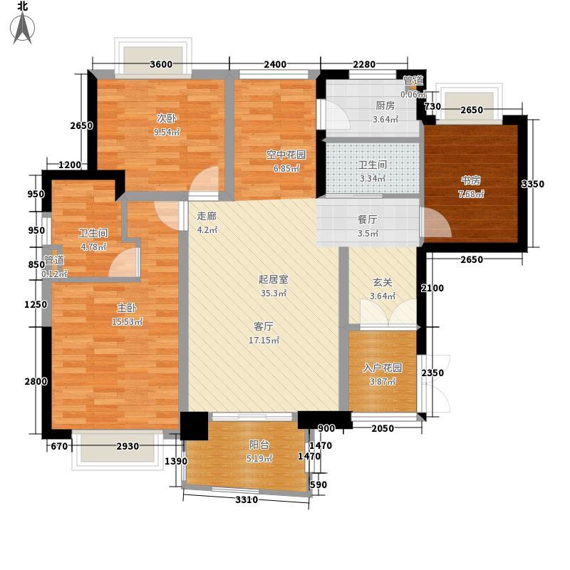 华融琴海湾116.00㎡B1-2高层户型3室2厅