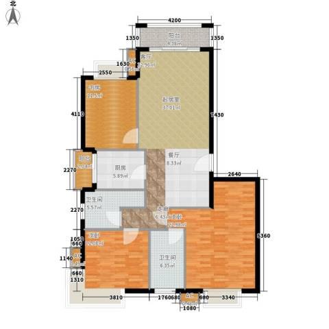 中建桂苑3室0厅2卫1厨123.00㎡户型图