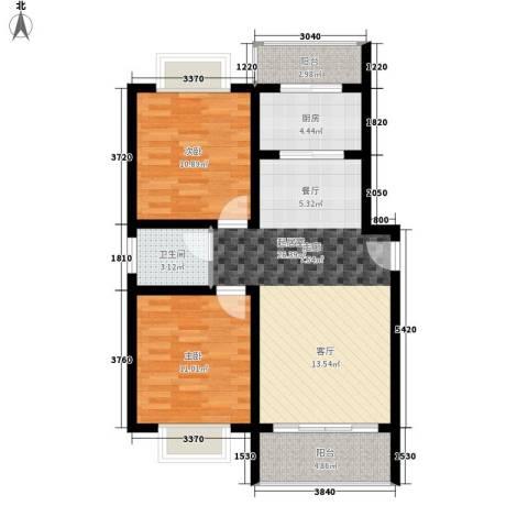 中华坊三期海棠园2室0厅1卫1厨85.00㎡户型图