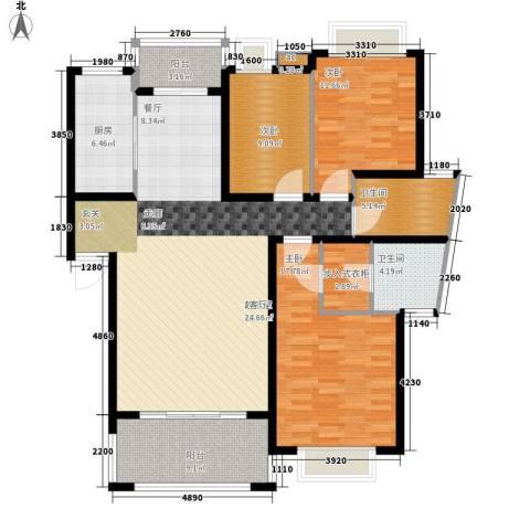 中建桂苑3室0厅2卫1厨128.00㎡户型图