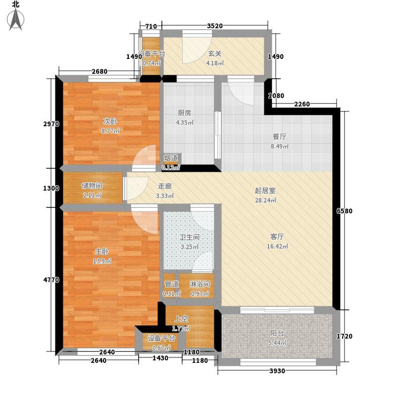 万科金域缇香88.00㎡户型2室2厅