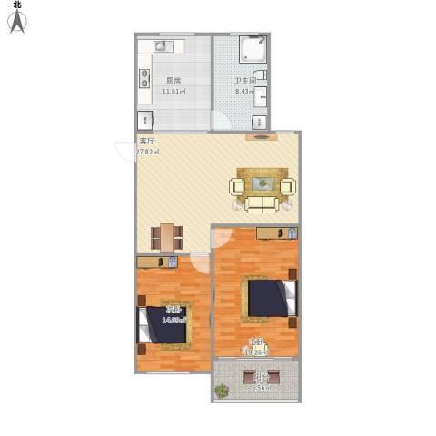汇华花园2室1厅1卫1厨114.00㎡户型图