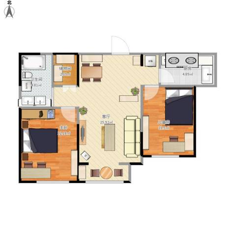 北宁湾2室1厅1卫1厨82.00㎡户型图