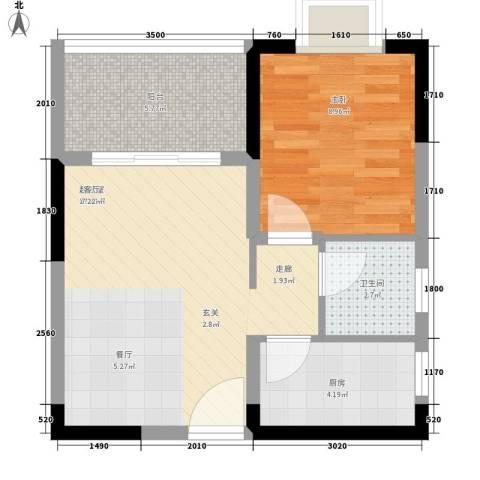 山海和湾1室0厅1卫1厨52.00㎡户型图