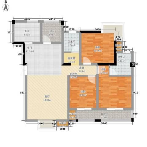 红莲湖首府3室0厅2卫1厨105.81㎡户型图