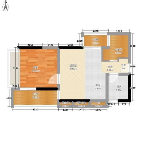珠江新岸公寓1室0厅1卫1厨52.00㎡户型图