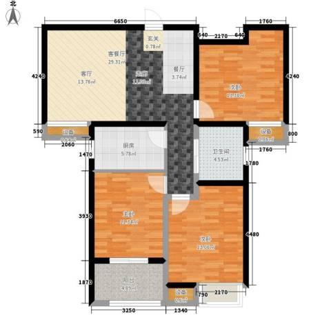 顺驰中央公馆3室1厅1卫1厨106.00㎡户型图