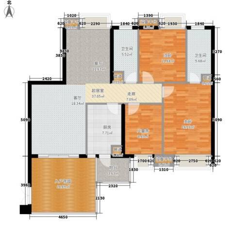 九龙1号3室0厅2卫1厨155.00㎡户型图