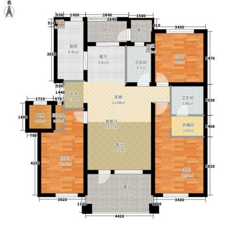 辰能溪树河谷3室1厅2卫1厨153.00㎡户型图