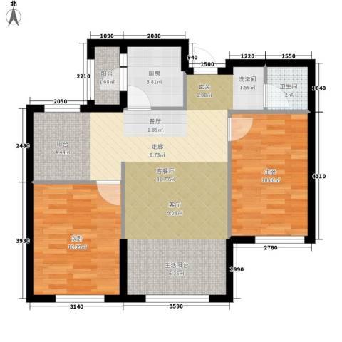 辰能溪树河谷2室1厅1卫1厨86.00㎡户型图