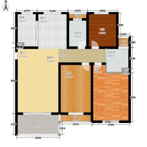 百盛花园3室1厅2卫1厨127.00㎡户型图