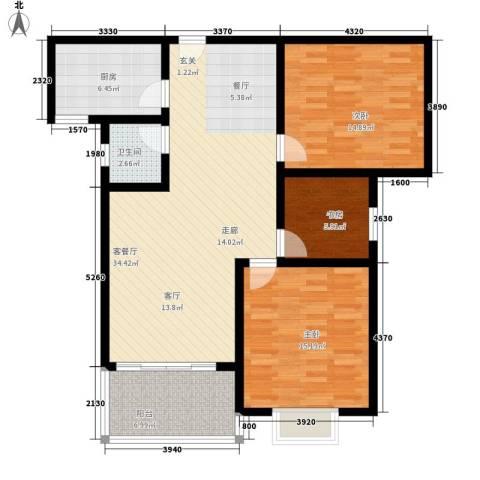 随县神龙湾3室1厅1卫1厨98.00㎡户型图