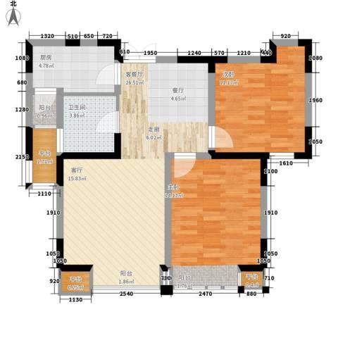 枫尚河院2室1厅1卫1厨88.00㎡户型图