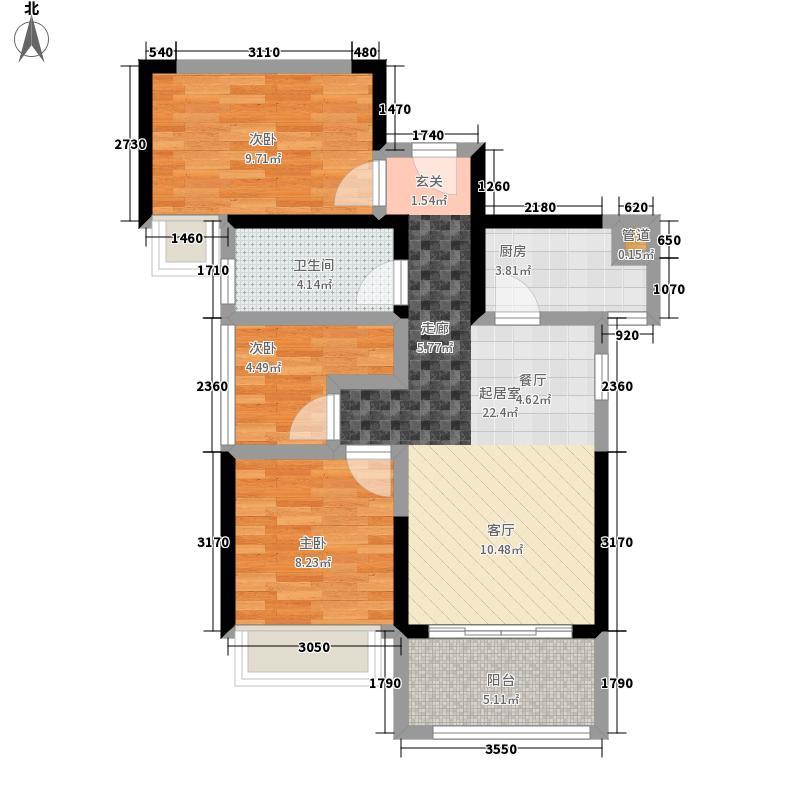 光明1号1号楼A2平面图户型3室2厅