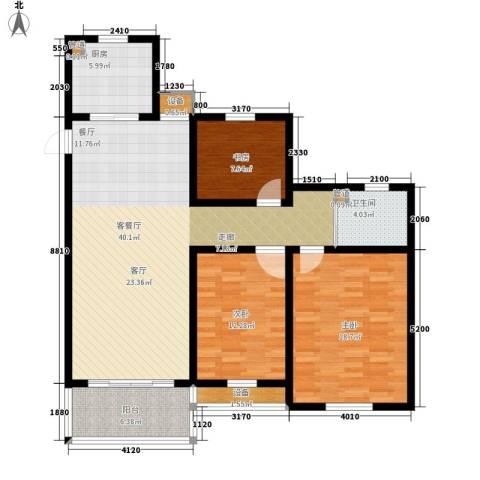 百盛花园3室1厅1卫1厨111.00㎡户型图