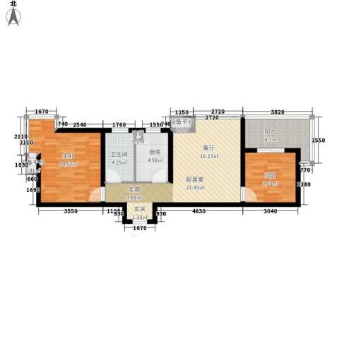 小悉尼自由岛2室0厅1卫1厨77.00㎡户型图