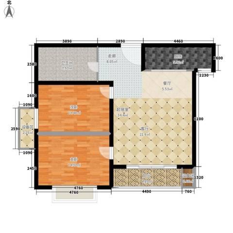 旭辉十九城邦2室0厅1卫1厨95.00㎡户型图