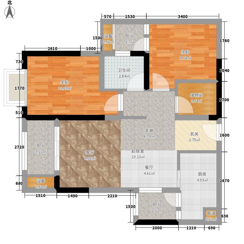 金茂珑悦8号楼4、5号房户型2室2厅