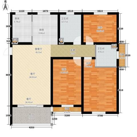 百盛花园3室1厅2卫1厨129.00㎡户型图