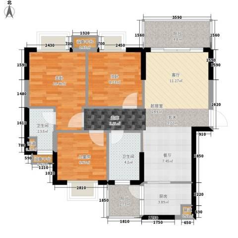 九龙1号3室0厅2卫1厨96.00㎡户型图