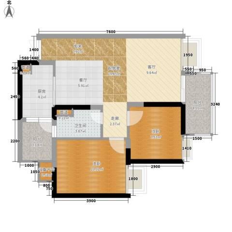 九龙1号2室0厅1卫1厨79.00㎡户型图