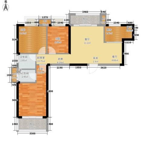 龙旺名城3室0厅2卫1厨104.00㎡户型图