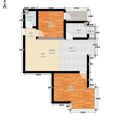小悉尼自由岛2室0厅1卫1厨84.00㎡户型图