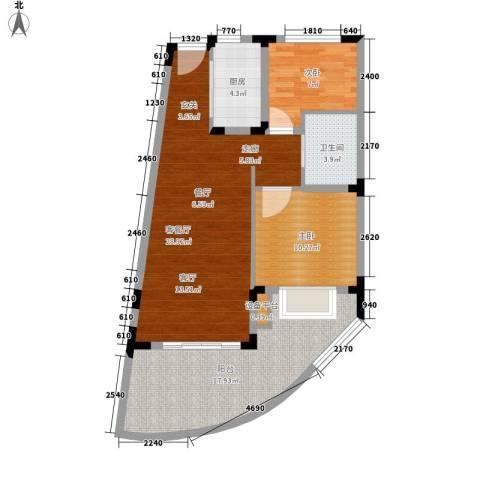 白金海岸2室1厅1卫1厨84.00㎡户型图